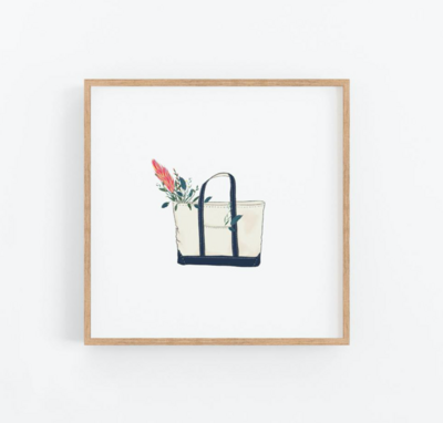 Tote Bag With Flowers Print 12x12