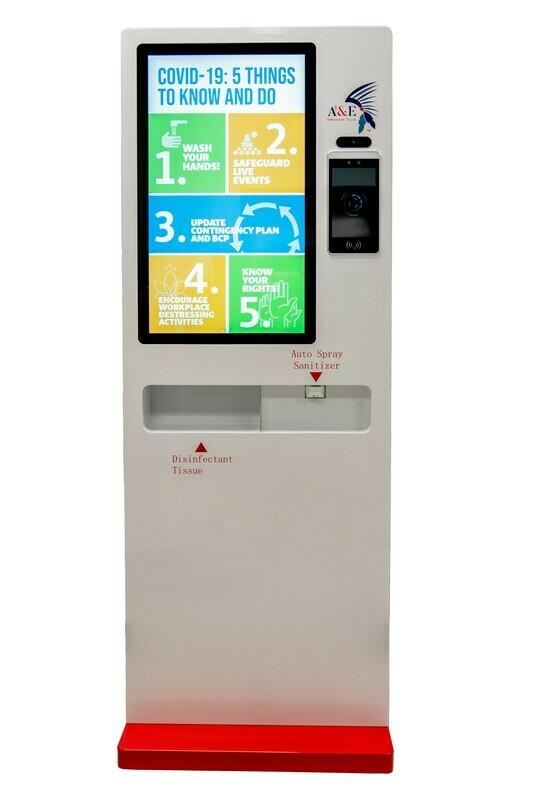 AE Temperature Sensor Kiosk w/Hand Sanitizing Station