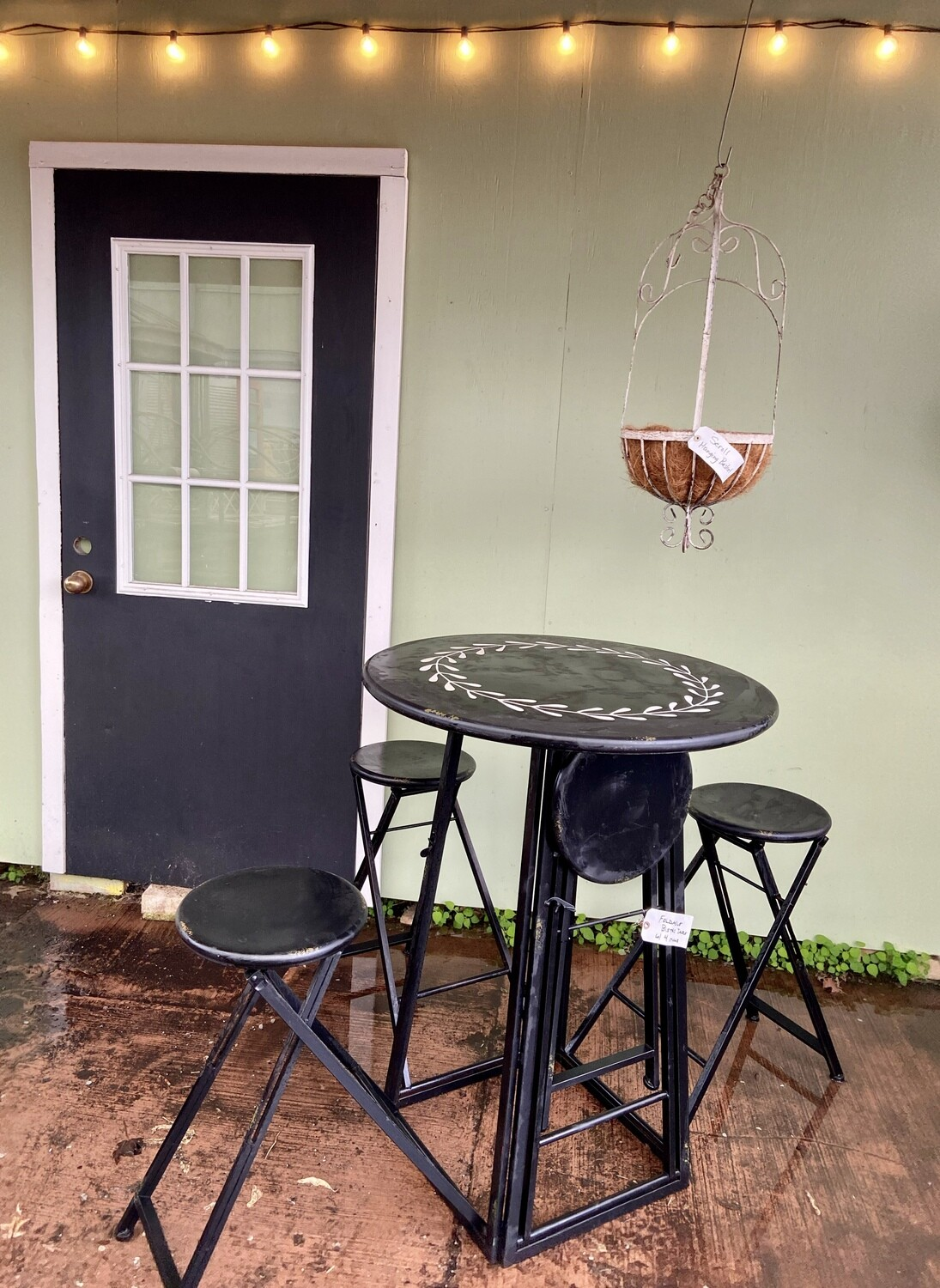 Foldable Bistro Table with 4 Stools