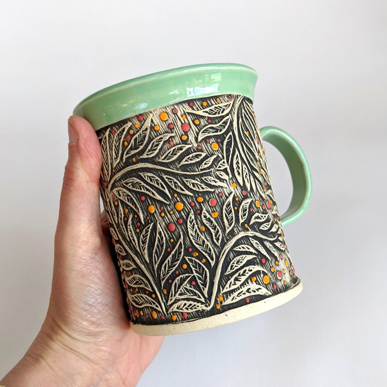 Fancy Mug Leaf Design