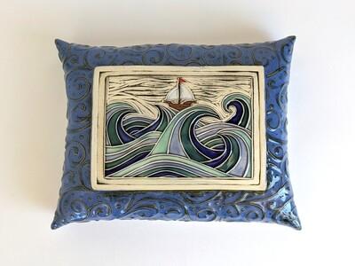 Ship @ Sea Wall Pillow