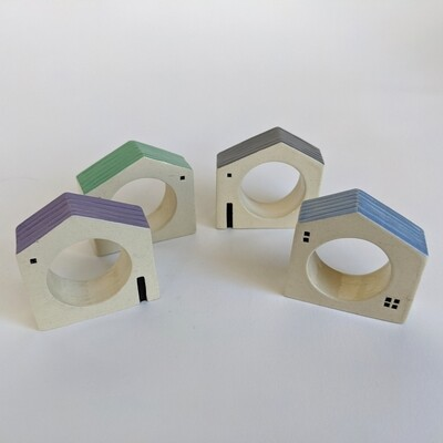 House Napkin Ring Set 3