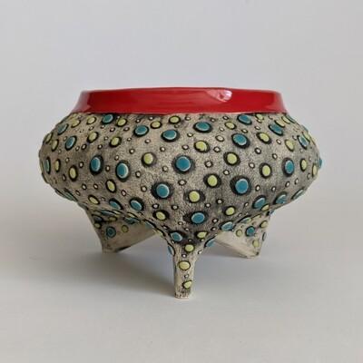 Fancy Pants Bowl Red Polka Dot Design