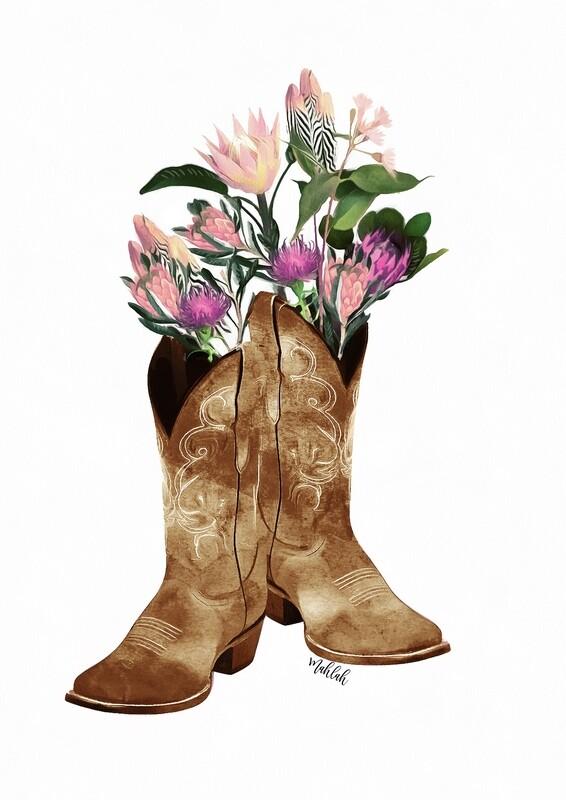 Cowboy Boots Flower Print