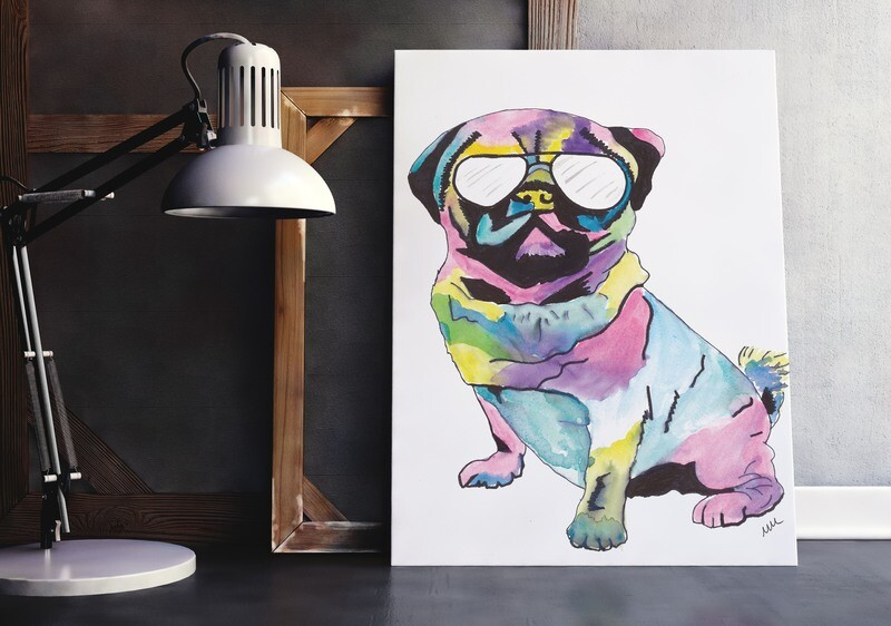 Pug with glasses Print