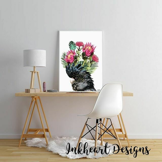 Black Cockatoo Flower Print