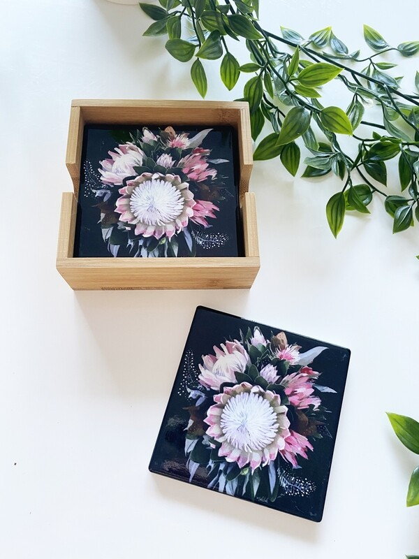 Peninsula wild flower set of  4 coasters