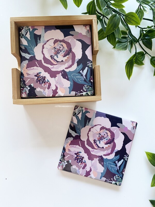 Frilly Flowers set of 4 coasters