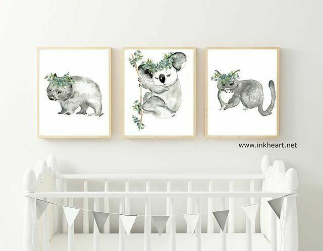 Nursery Set of 3 x A3 unframed prints