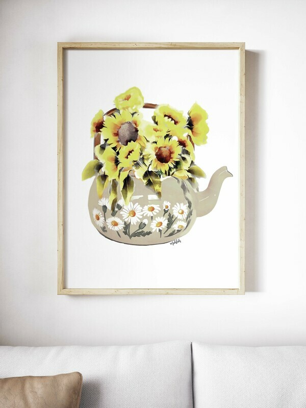Sunflower teapot Print