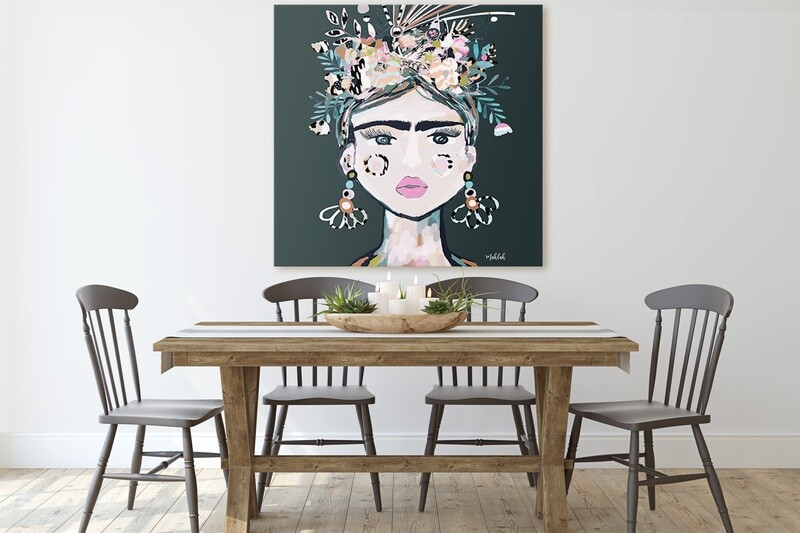 125cm x 125cm Lida (Green) Canvas Print
