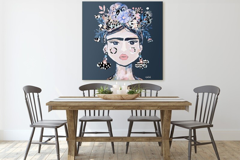 125cm x 125cm Lida (Blue) Canvas Print