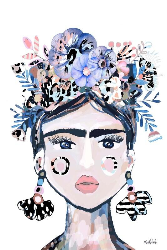 Lida Blue , White Print