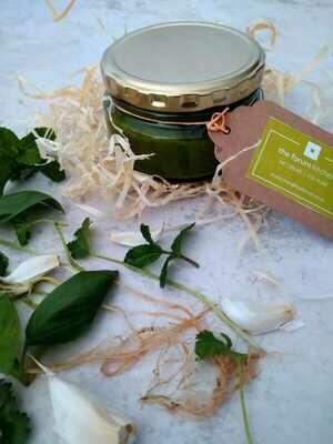 Pesto:  Three herb and walnut in 200ml glass jar