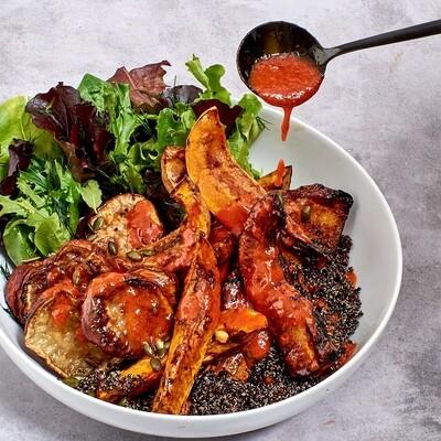 Pan fried sweet potato & butternut with spiced pumpkin seeds, steamed quinoa salad with korean dressing
