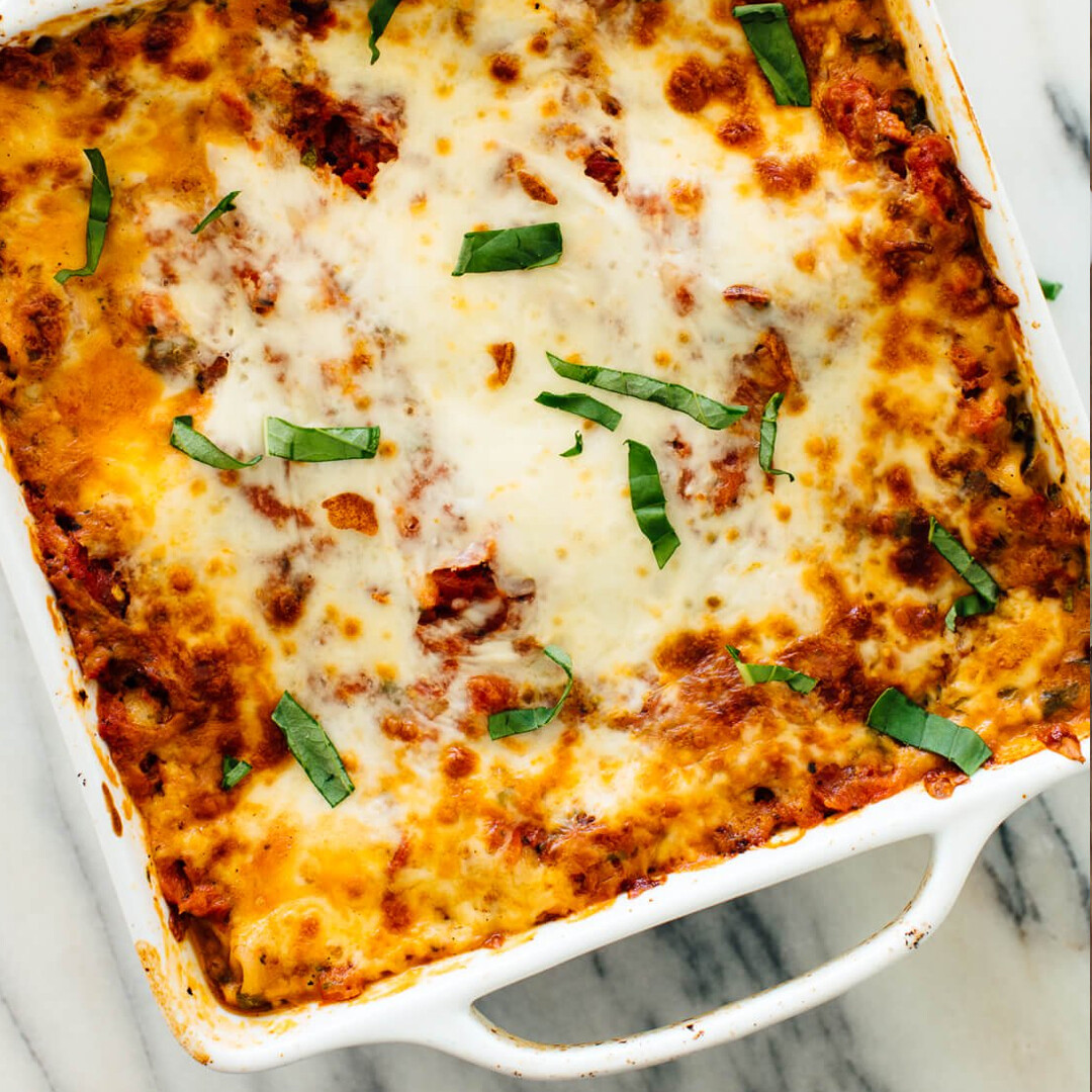 Vegetarian lasagne for two