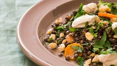 Candied butternut and lentil salad with organic labneh, toasted pine nuts and garden greens
