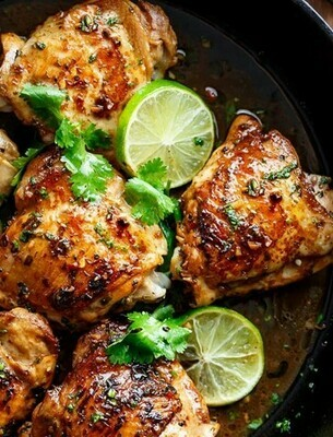Lime and cilantro roasted free range chicken thighs with dill caper yoghurt sauce