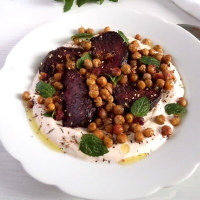 Roasted beetroot salad with green beans, chickpeas and fresh herbs.  Served with babaganoush
