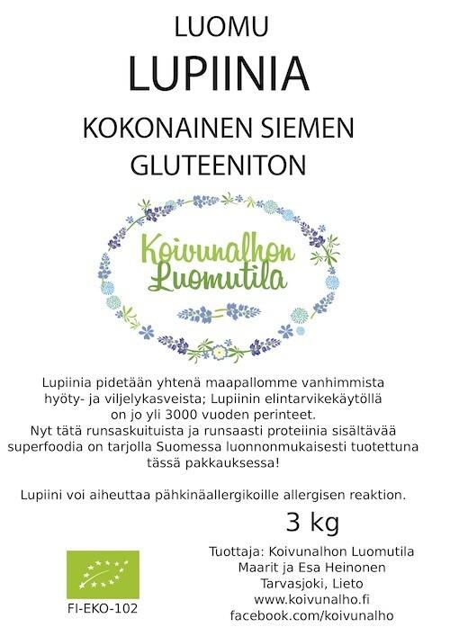 Kokonainen lupiinin siemen, Gluteeniton 3 kg