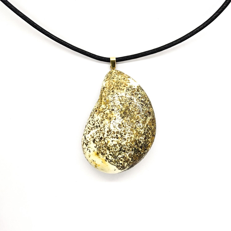 Wisior złoty z bursztynem