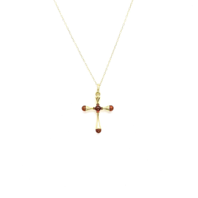 Złoty krzyżyk z bursztynem
