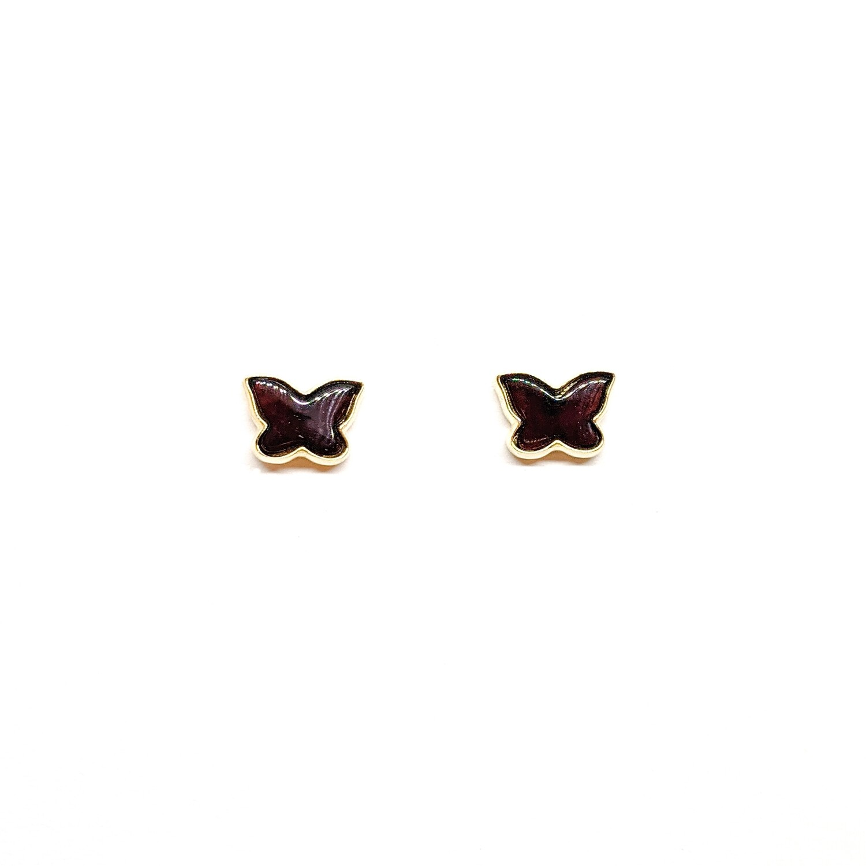 Złote kolczyki motylki z bursztynu