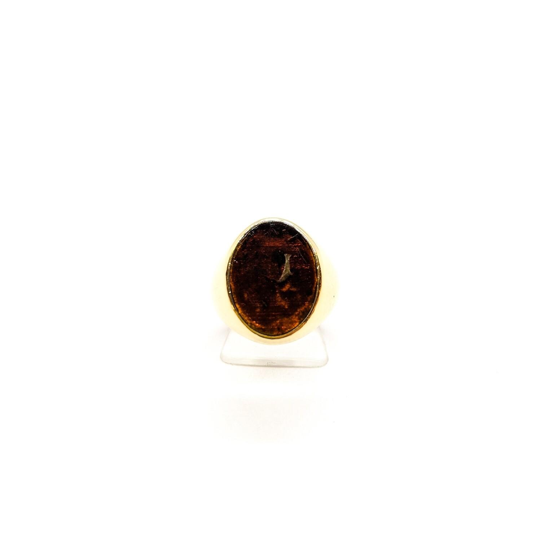 Sygnet srebrny złocony z bursztynem