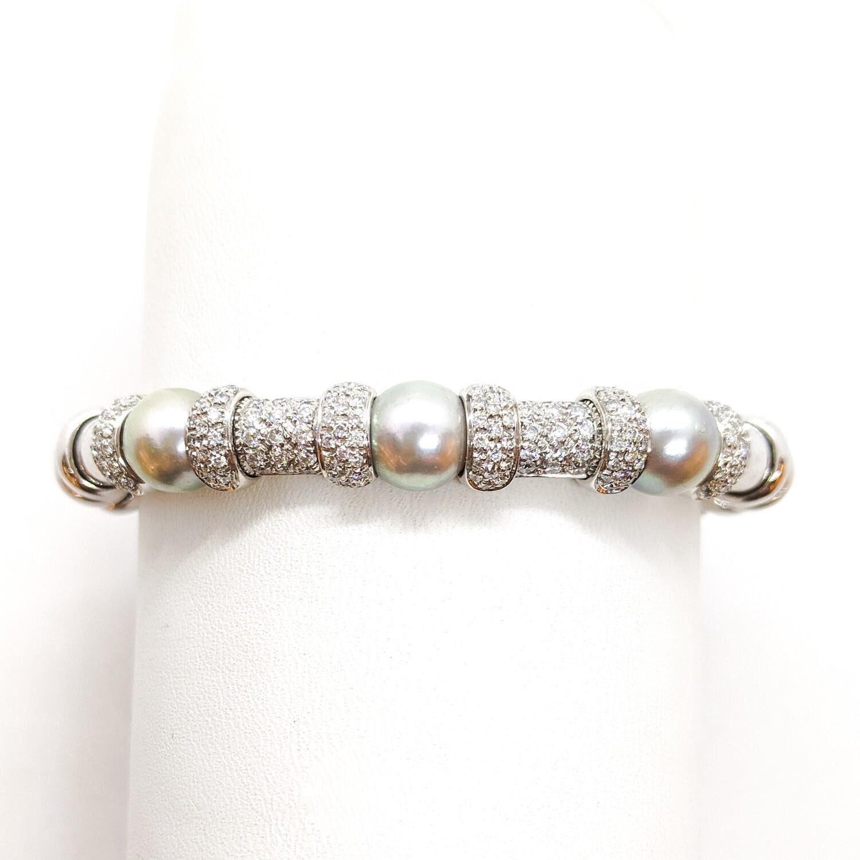 Bransoletka złota z diamentami&perłami