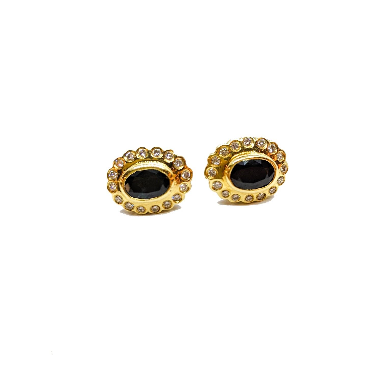 Earrings with diamonds & sapphires