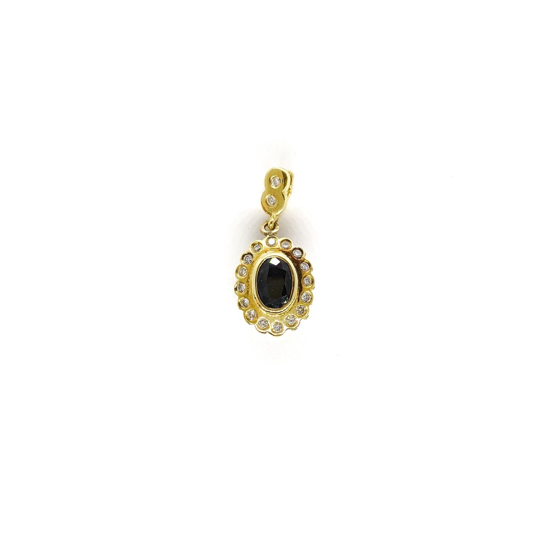 Wisior złoty z diamentami & szafir
