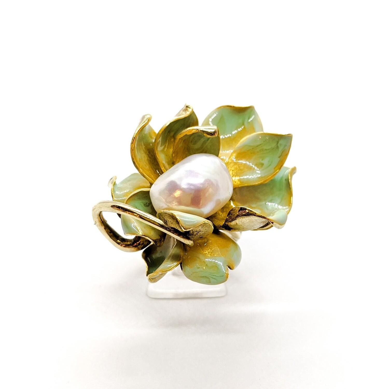 Pierścionek srebrny złocony z perłą