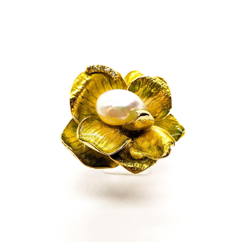 Pierścionek srebrny złocony z perła & cyrkoniami