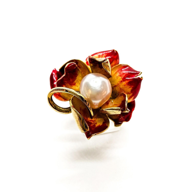 Pierścionek srebrny złocony z perła