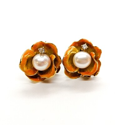 Earings with pearl & zirconias