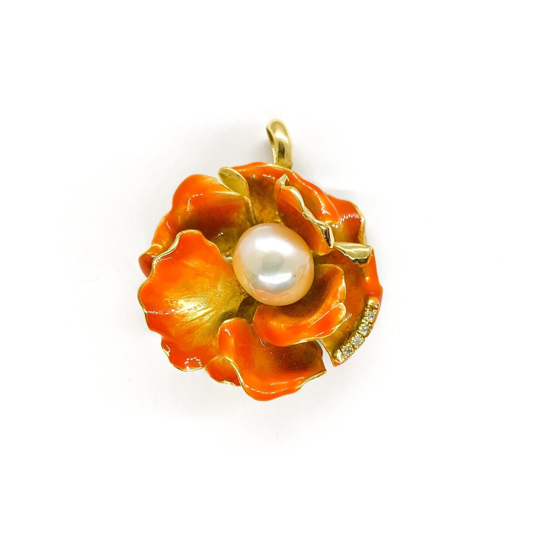 Wisior srebrny złocony z perła & cyrkoniami