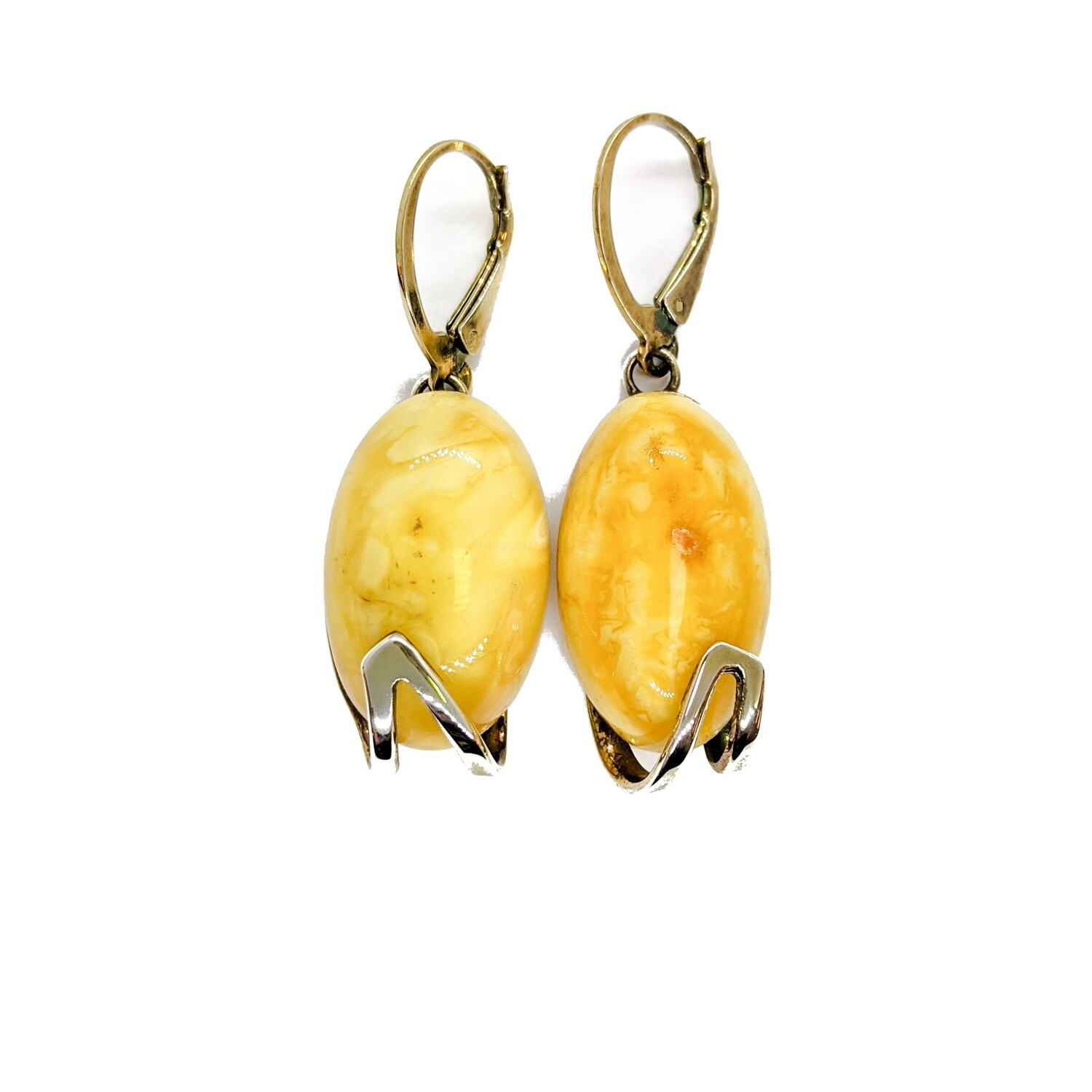 Silver gilded earrings with amber