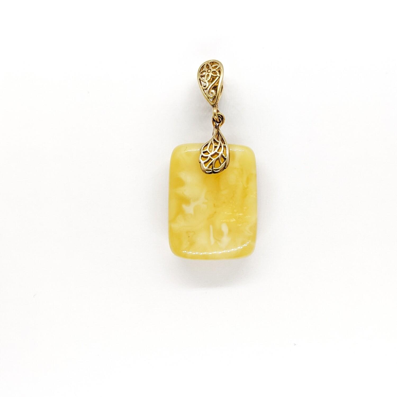 Wisiorek srebrny złocony z bursztynem