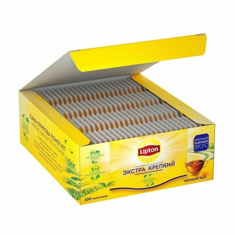 Чай Lipton черный крепкий 100 пакетиков