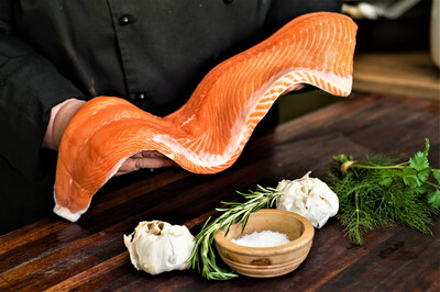 Frozen RAW Norwegian Salmon Sides (+/- 1.3kg A Side) Price Is Per Kg