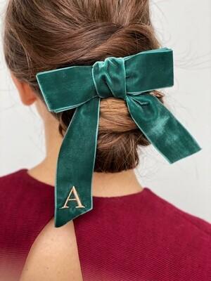 Personalized velvet hair bow BRIGITTE DARK GREEN