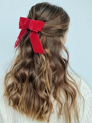 Personalized velvet hair bow BRIGITTE RED