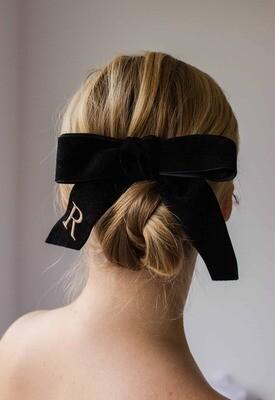 Personalized velvet hair bow BRIGITTE BLACK