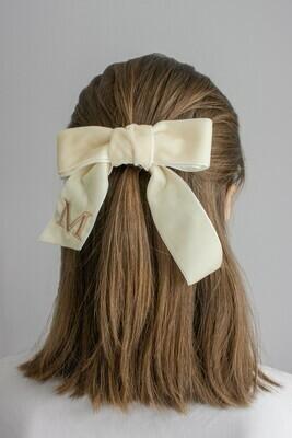 Personalized velvet hair bow BRIGITTE IVORY