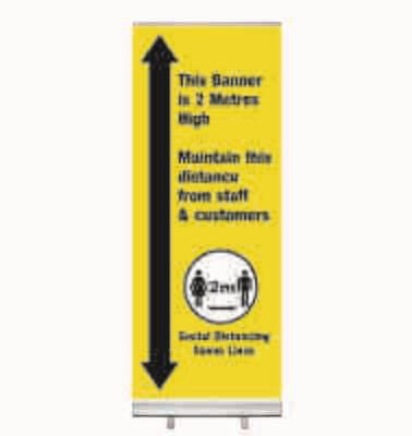 2m Social Distance High Roller Banner