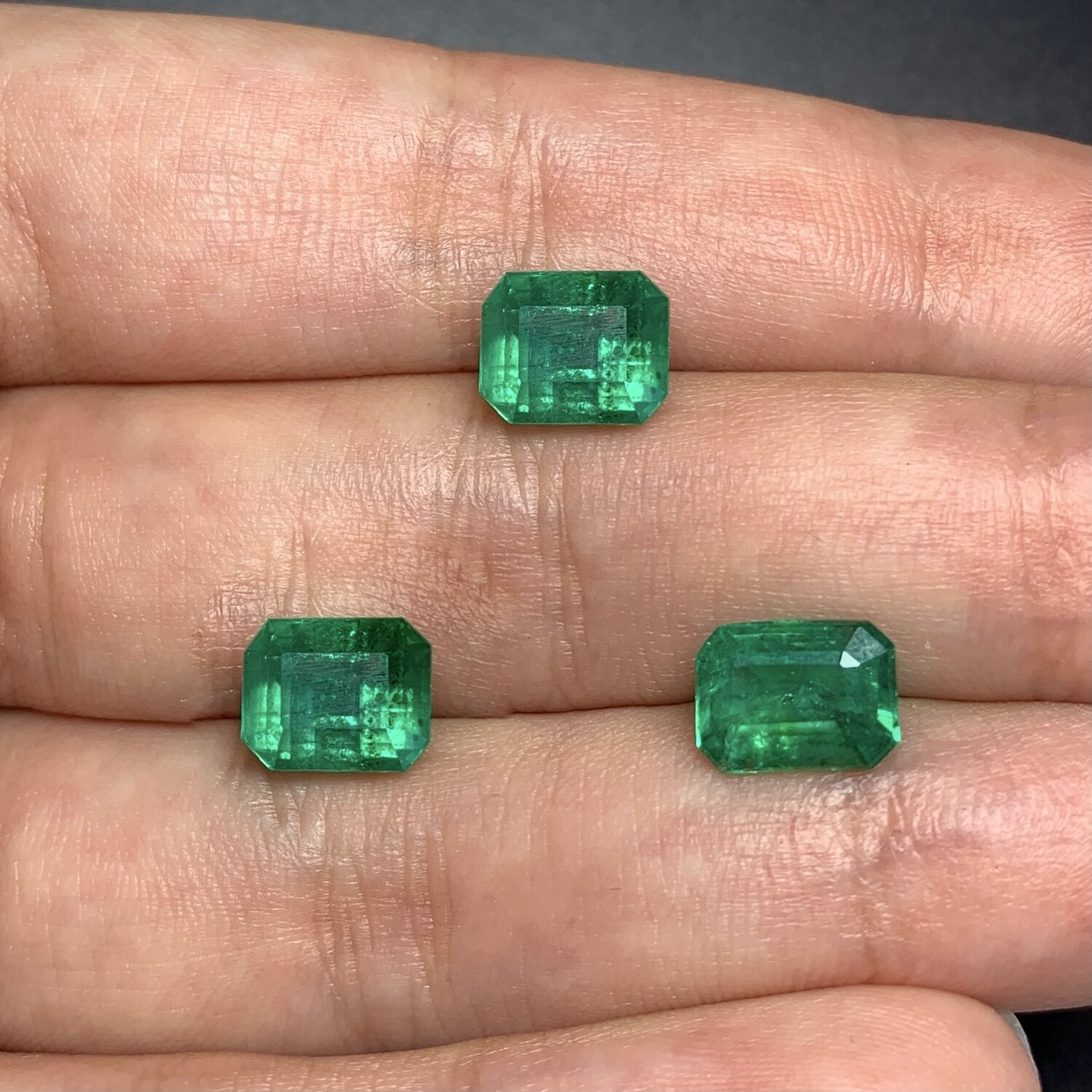 Emeralds octagon cut set 1.57 ct and 1.69 ct and 2.95 ct