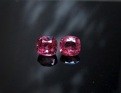 Spinel Cushion cut pair 1.80 ct and 2.28 ct