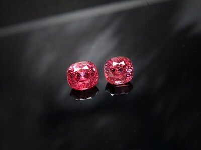 Spinel Cushion cut pair 1.53 ct and 1.57 ct