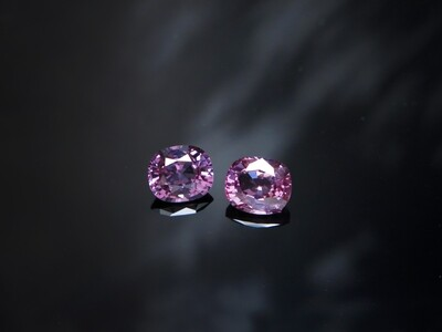 Spinel Cushion cut pair 1.11 ct and 1.22 ct