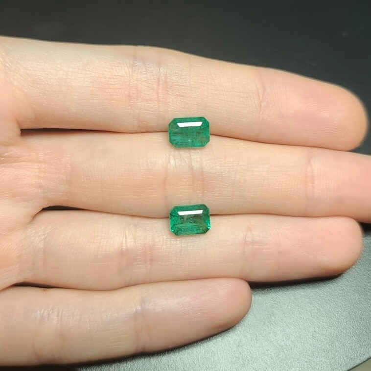 Emeralds octagon cut pair 1.64 ct and 1.81 ct